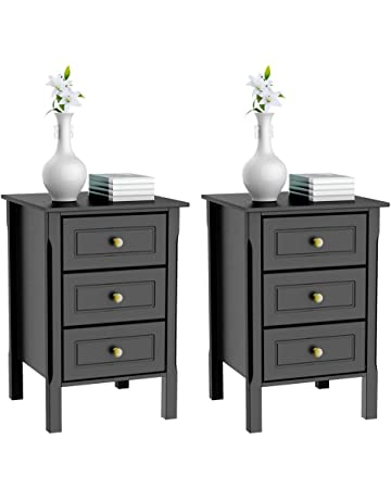 Yaheetech 3 Drawers Nightstand Tall End Table Storage Wood Cabinet Bedroom Side Storage Set Of