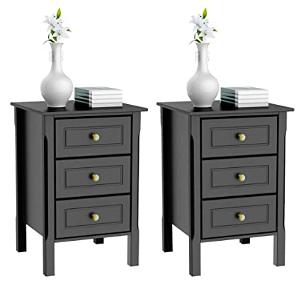Amazon Com Yaheetech 3 Drawers Nightstand Tall End Table Storage