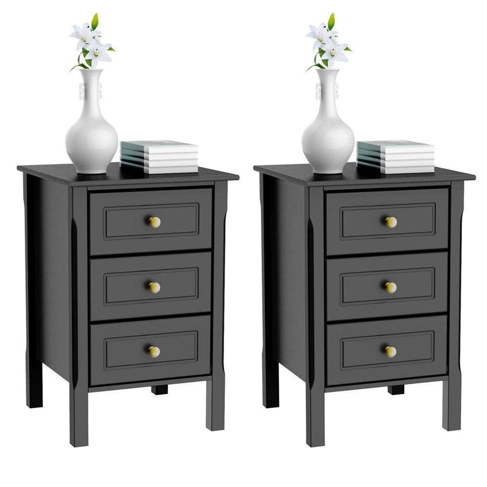 Yaheetech 3 Drawers Nightstand Tall End Table Storage Wood Cabinet Bedroom Side Storage, Set of 2, Black