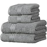 Linens Limited Supreme 100% Egyptian Cotton 4 Piece Guest Towel Set, Silver