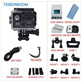 TEBERBOOM Sport Action Camera, Waterproof Sport Camera S2 WiFi 4k Ultra HD 170 Degree Wide View Angle,100ft Underwater and Mounting Accessories Kit for Diving/Biking/Climbing/Swimming (Black)