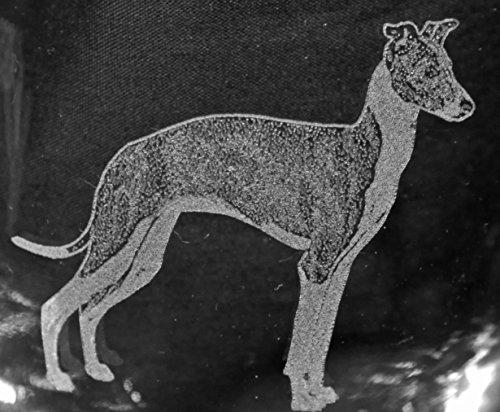 Muddy Creek Reflection Italian Greyhound Dog Laser Etched White Wine Juice Glass Set (2, SWW) For Sale