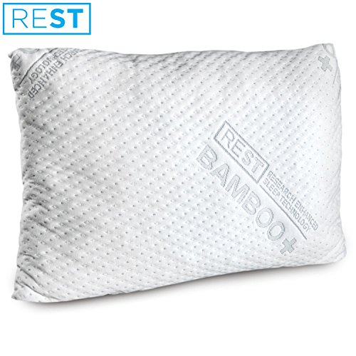 REST Home Collections Premium Bamboo Pillow, Made with Eco-Cool Removable Cover and Custom Comfort Blended Memory Foam, Hancrafted in the USA - QUEEN (Covers Made Custom Pillow)