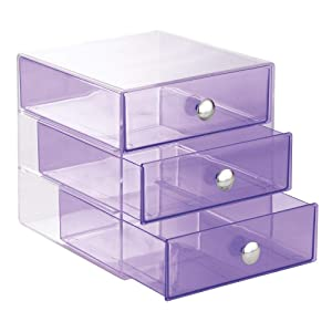 iDesign 3 Drawer Storage Organizer for Cosmetics, Makeup, Beauty Products and Office Supplies, Purple