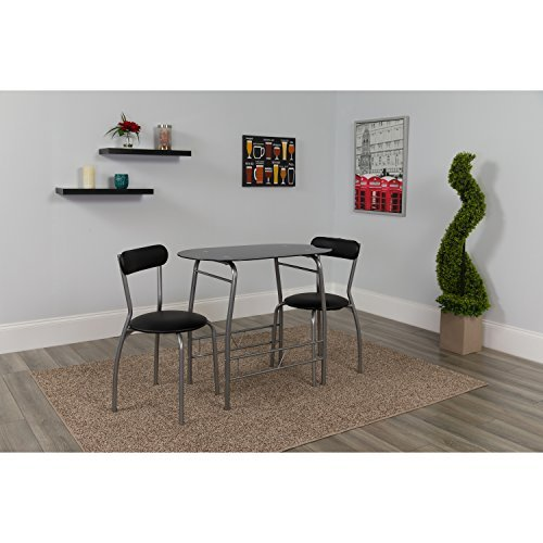 Flash Furniture Sutton 3 Piece Space-Saver Bistro Set with Black Glass Top Table and Black Vinyl Padded Chairs (Retro Dinette Sets)