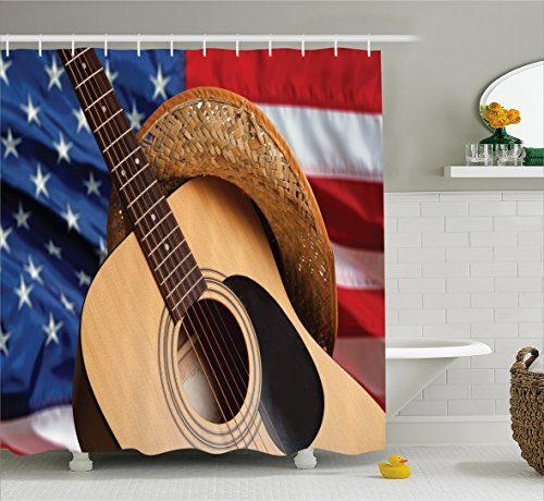 Ambesonne Western Decor Shower Curtain by, Country Music Acoustic Guitar with American Flag Popular Fourth of July Festive, Fabric Bathroom Decor Set with Hooks, 75 Inches Long, Multi ()