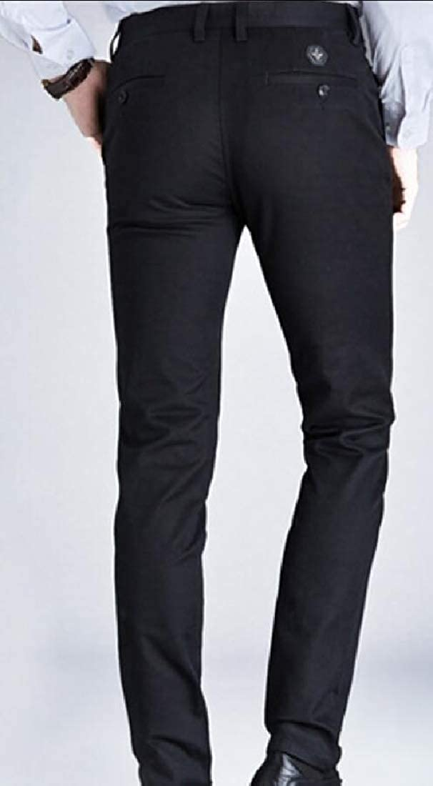 HTOOHTOOH Mens Slim Fit Solid Leisure Straight Business Flat-Front Chino Pants