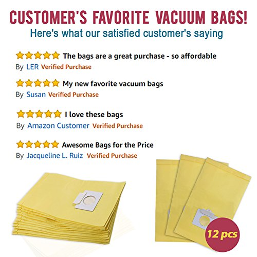 Set of 12 Anti-bacterial Hypoallergenic Premium Vacuum Bags for Kenmore Canister Type C, Panasonic Type C5, 50558 50557 5055 Vacuum Cleaner, Eco-friendly Wood Pulp Paper by King Vacuum Bags (Image #4)