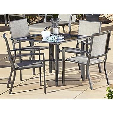Cosco Outdoor 5 Piece Serene Ridge Aluminum Patio Dining Set, Dark Brown