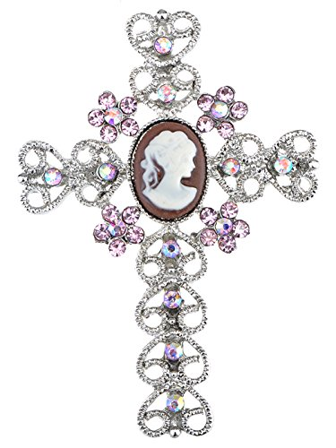 Cameo Brooch Flower Pin (Alilang Womens Silver Tone Pink Rhinestones Flower Heart Cameo Cross Brooch Pin)