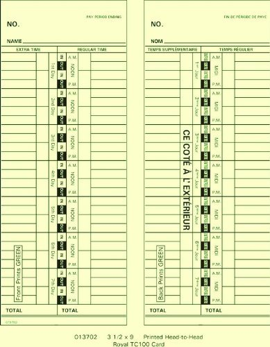 013702 Weekly Time Cards For Royal TC100/TC200 (Box of 1000) by Time Clock Express