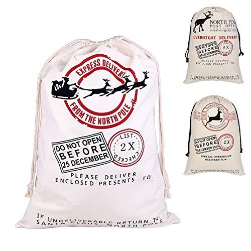 Christmas Gift Bag Santa Sack Deer Pattern Design Stocking Stuffers Large Cotton 27 X 19(Beige-Sled and Deer)