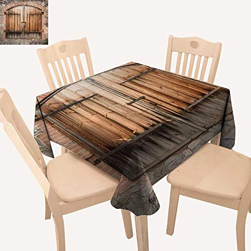 Angoueleven Rustic Square Tablecloth Wooden Door of a Stone House with Wrought Iron Elements Tuscany Architecture Photo Dinning Table Covers Brown Grey W 36