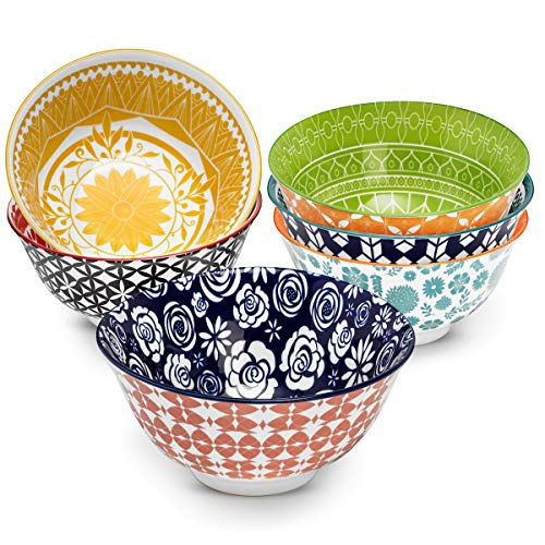 Annovero Cereal Bowls Set - Porcelain Soup, Salad, Rice, or Pasta Bowls, Microwave & Dishwasher Safe, 25 Fluid Ounce Capacity, Set of 6 Colorful Designs