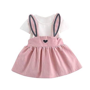 6a7429b6e Amazon.com: 0-24M Newborn Toddler Baby Girls Summer Princess Dresses Casual  Cute Heart-Shaped Rabbit Ear Heart Strap Overalls Clothes: Clothing