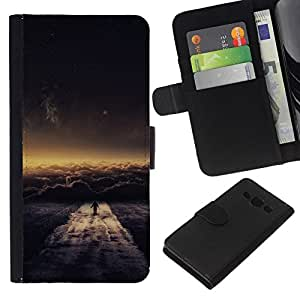 NEECELL GIFT forCITY // Billetera de cuero Caso Cubierta de protección Carcasa / Leather Wallet Case for Samsung Galaxy A3 // Nube Paseo