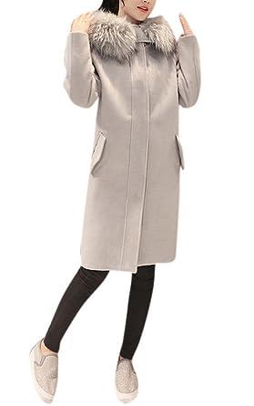 7d2a5117f0e COLINNA Women s Elegant Faux Fox Fur Hooded Dress-Coats Knee Length Long  Pea Trench Woolen