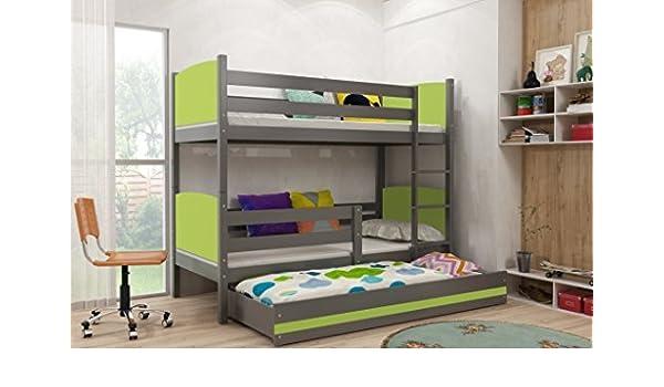 Interbeds TAMI - Litera infantil con cama nido de madera maciza de grafito para niños + colchones gratis, colores sueños. 160x80, 190x80, 190x90, 200x90, ...