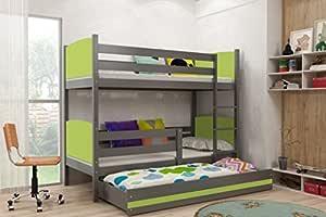 Interbeds TAMI - Litera infantil con cama nido de madera maciza de grafito para niños + colchones gratis, colores sueños. 160x80, 190x80, 190x90, 200x90, Verde, 190x80: Amazon.es: Hogar