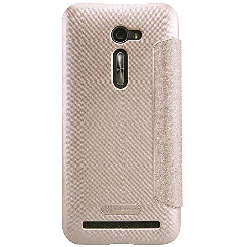 Asus ZenFone 2 ZE500CL 5 inch PU case, KuGi ® Rain style High quality ultra-thin PU Leather Case for Asus ZenFone 2 ZE500CL 5 inch smartphone. (Gold)