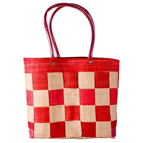 Madaraff Handmade Raffia Shopping Bag Red And Natural Check Medium