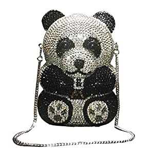 Panda Shaped Handbag Purse Women Diamond Clutch Animal Shaped Bling Evening Bag