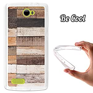 BeCool® - Funda Gel Flexible Archos 50 Diamond BeCool Natural Wood Carcasa Case Silicona TPU Suave