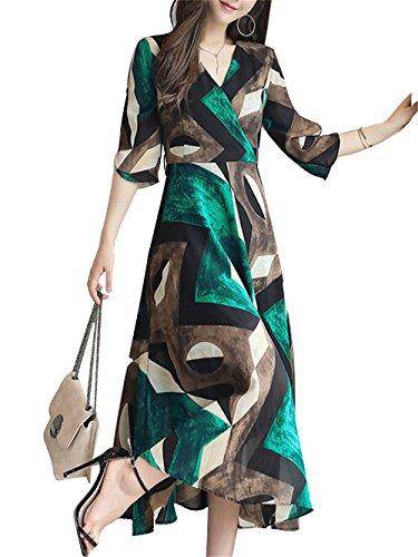 BubbleKiss Women Elegant V-neck Colorblock Surplice Bowknot Tie Printed Chiffon Maxi - Gatsby Sg