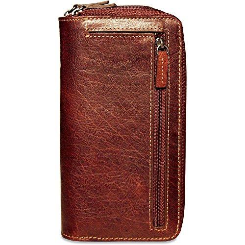 Leather Zippered Wallet in Georges Jack Double Voyager Brown Clutch fnqHBqAX