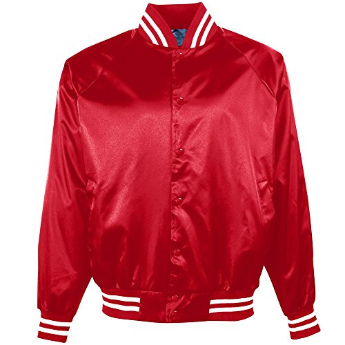 Satin Baseball Jacket (Augusta Sportswear Boys' Satin Bbll Jkt/Striped Trm M Red/White)