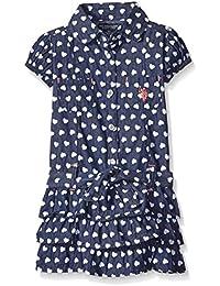 Girls' Heart Print Belted Tiered Ruffle Denim Dress