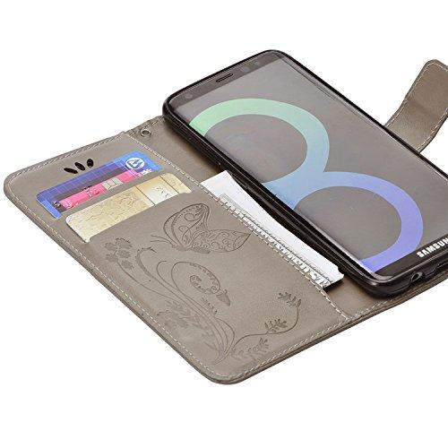 Funda Samsung Galaxy S8 Plus, Vandot Premium PU Cuero Pintado Patron Funda para Samsung Galaxy S8 Plus TPU Interior Bumper Shell Billetera Caja de Teléfono con 9 Ranuras Tarjetas, Correa para la muñec HD02YH 03