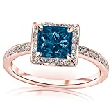 1.3 Carat t.w 14K Rose Gold Victorian Halo Style Square Shaped Pave Set Round Diamond Engagement Ring w/ a 1 Carat Princess Cut Blue Diamond Heirloom Quality