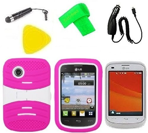Heavy Duty Hybrid Phone Case Cover Cell Phone Accessory + Car Charger + Extreme Band + Stylus Pen + LCD Screen Protector Guard + Yellow Pry Tool for For Tracfone StraightTalk LG 306G LG306G (S-Hybrid Pink White)