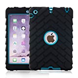 iPad Mini 1/2/3 Cases ,BESDATA [3 In 1] Full Border Hybrid Protective Tire Profile Colors Combo Silicone Plastic Cases For Apple iPad Mini 1/2/3 +Stylus Pen +Screen Film Protector+Cleaning Cloth (Black-Blue)