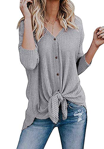 Basic Faith Women's S-3XL Ultra Soft Bat Wing Blouse Casual Button Down Thermal Tops Gray S