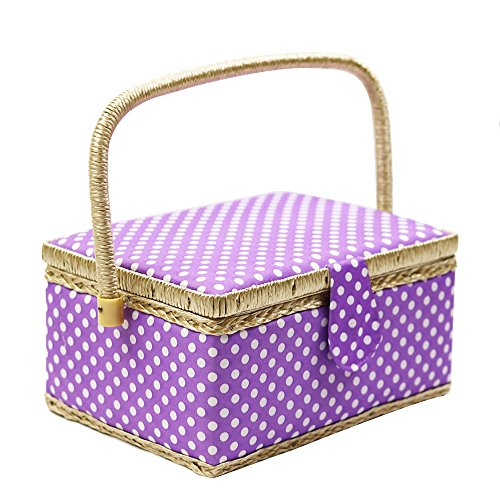 D&D Sewing Basket with Sewing Kit Accessories - Purple Polka Dots