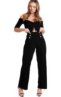 ec5f360686d21f Ikrush Womens Jenni Side Stripe Wide Leg Trousers Black: Amazon.co ...