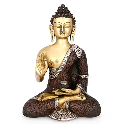 Brass Statue Bronze - CraftVatika Abhaya Buddha Bronze Statue Tibetan Sakyamuni Blessing buddha Brass sculpture-Buddha Decorative figurine