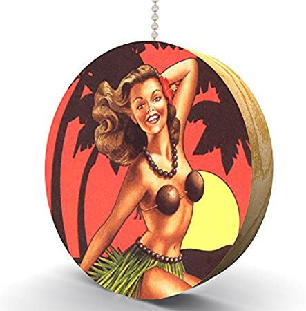 Cowgirl Pin Up Print Round Wood Fan  Light Pull