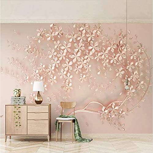 Amazon Com Lifme 3d Custom Mural Wallpaper Rose Gold Flower Luxury Living Room 3d Stereo Tv Background Murals Decorative Wall Papers Home Decor 120x100cm Home Kitchen