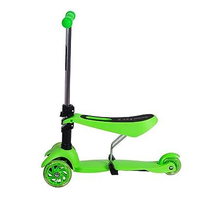 Monopatín para niños con ruedas de luces intermitentes, multifuncional 3 en