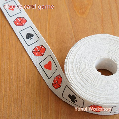 10 metres: Playing Cards Theme Fabric Ribbon Dice and Card Game 15mm Red Black Sewing Scrapbooking Craft DIY
