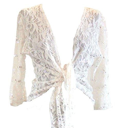 Cream Sparkly Sequin Lace Front Tie Evening Bolero Shrug. Size 14/16