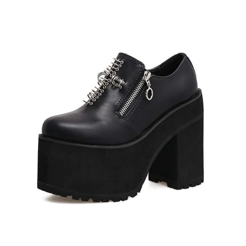 Hy Chaussures pour Femmes - Chaussures en Cuir pour Rivets de Printemps/Automne - Talon é pais - Bout Rond - Souliers Simples de Mode - Talon - Noir/Mariage / (Couleur : Noir, Taille : 35)