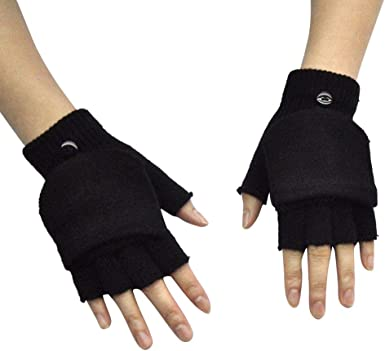 Winter Kids Flip Top Gloves Convertible Mittens Cover Thermal Insulation Fingerless Texting Gloves Stretchy Flap Cover