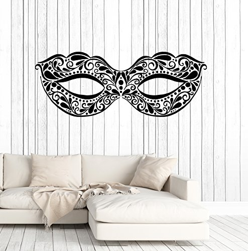 Vinyl Wall Decal Masquerade Mask Ball Dancing Party Festival Stickers Large Decor (ig4947) Silver Metallic