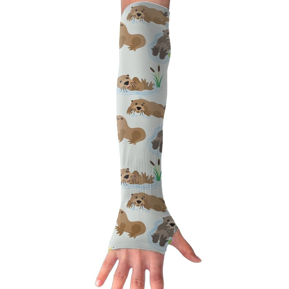 Huadduo Otters Womens Anti-uv Sun Protection Cooling Arm Sun Sports Sleeves Gloves