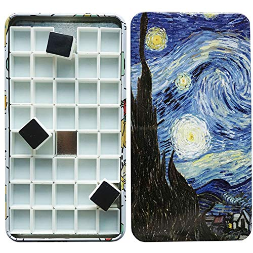 HOME AID Empty 40 Pcs Half Pans with Magnetic Stripe Watercolor Gouache Paint Travel Tin Case Palette Plastic Refills ()