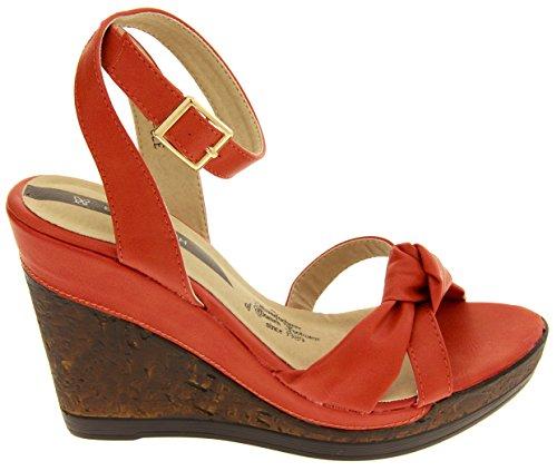 Cuñas Efecto Cuero Imitación Las Sandalias Studio Coral Corcho Mujer Elisabeth De Footwear znq0FBxwx
